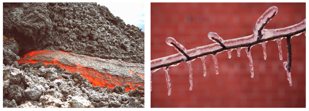 Examples of changing states in nature include molten lava cooling into rock, and water freezing to form ice.